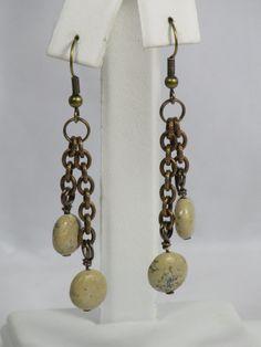 Jasper Brass Earrings Latte Jasper Antiqued by AribellaJewelry