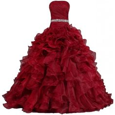 ANTS Women's Pretty Ball Gown Quinceanera Dress Ruffle Prom Dresses ($100) ❤ liked on Polyvore featuring dresses, gowns, vestidos, long dresses, prom gowns, prom ball gowns, long red evening dress, red prom gowns and red evening dresses