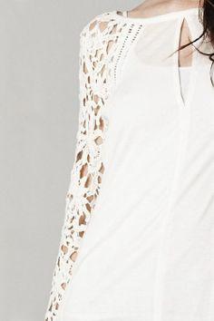 Pretty Crochet Sleeve Top.
