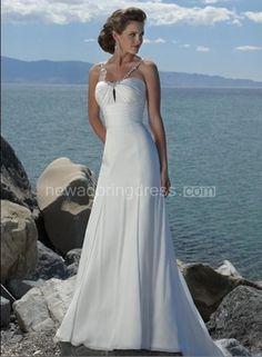 Sheath/Column Empire Spaghetti Straps Chiffon Beach Wedding Dress