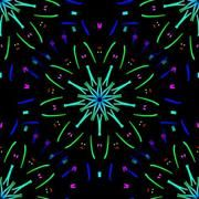 Fireworks (Ocean)<br />Terrella-Creative<br />pattern seamless art lines dots radiating circular flower floral fireworks colour color colourful colorful green blue sky royal teal cyan lime red yellow pink
