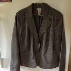 Suit jacket  gray with pinstripe Gray with pinstripe  fully lined suit jacket. Two button front. Has three buttons on sleeve. No pockets. Nice condition, gently worn. Worthington Jackets & Coats Blazers