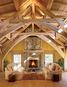 The beauty is in the architecture and fireplace(big room that is easy to clean… Style At Home, Stone Fireplace Designs, Stone Fireplaces, Timber Frame Homes, Timber Frames, Ceiling Design, Ceiling Color, My Living Room, Living Area