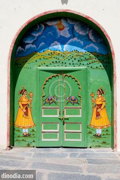 Decorative door of City palace museum, Udaipur, Rajasthan in India