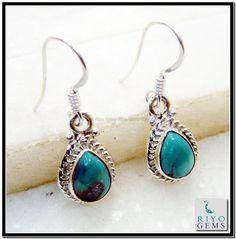 Turquoise Silver Earring Riyo Gems www.riyogems.com