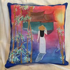 Vietnamese girl - hand pained silk cushion by Tatiana Iseborn Young Silk Art, Girls Hand, Silk Painting, Silk Scarves, Wearable Art, Etsy Seller, Cushions, Hand Painted, Paintings