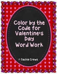 """This product has 5 color by code Valentine's Day word work pages; one for each day of Valentine's week!  Here's what you get:Color by the Code Nouns and AdjectivesColor by the Code Verbs and AdverbsColor by the Code """"Bossy R""""Color by the Code Plural EndingsColor by the Code SyllablesHope you enjoy!"""