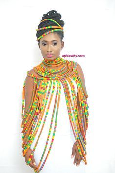 WUSULU KENTE necklace is made with carefully selected african print, designed for the bold and beautiful, multi strand shoulder to shoulder necklace, perfect for any occasion with a durable lace strap at the back SHIPPING most items are made when ordered African Fashion Designers, African Print Fashion, African Fashion Dresses, Africa Fashion, African Attire, African Wear, African Dress, African Tribal Jewelry, African Necklace