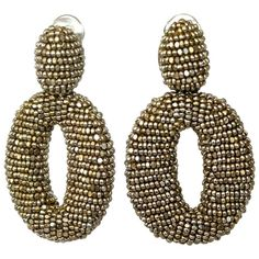 Oscar de la Renta Champagne Glass Bead Classic Clip Earrings | From a unique collection of vintage clip-on earrings at https://www.1stdibs.com/jewelry/earrings/clip-on-earrings/