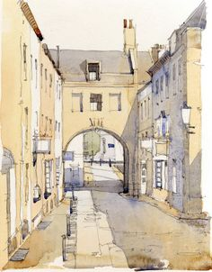 Yellow and grey. Sketch Painting, Watercolor Sketch, Watercolor Illustration, Watercolor Paintings, Watercolours, Watercolor Architecture, Urban Architecture, Architecture Drawings, Watercolor Water