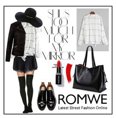 """""""ROMWE"""" by dzenny10 ❤ liked on Polyvore featuring Thom Browne, Rika, New Look and Eugenia Kim"""