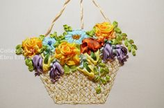 Ribbon Embroidery Flower Basket Floral by RibbonEmroidery on Etsy