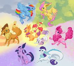 my little eeveelutions - my-little-pony-friendship-is-magic eeveelutions pokemon i have seen too much today that's enough internet. Rainbow Dash, Mlp My Little Pony, My Little Pony Friendship, Fluttershy, Unicornios Wallpaper, Little Poni, Imagenes My Little Pony, Disney, Pony Drawing