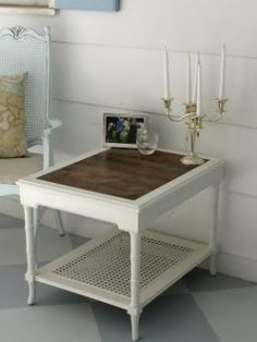 End table makeover - replaced the glass insert top with stained wood - I want to do this with an old coffee table