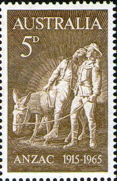 AUSTRALIA - CIRCA a stamp printed in the Australia shows Simpson and his Donkey, by Wallace Anderson, Anniversary of the Battle of Gallipoli, Turkey, circa 1963 Decimal, Ghibli, Anzac Soldiers, Stamp Values, Ww1 Art, Postage Stamp Design, Australian Painting, Australia Map, Anzac Day