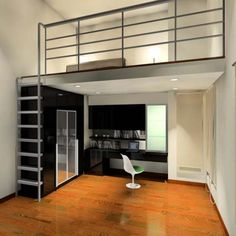 Mezzanine floor design, minimalist home Mezzanine Bedroom, Mezzanine Floor, Loft Room, Interior Design Inspiration, Home Interior Design, Interior Architecture, Design Ideas, Floor Design, House Design