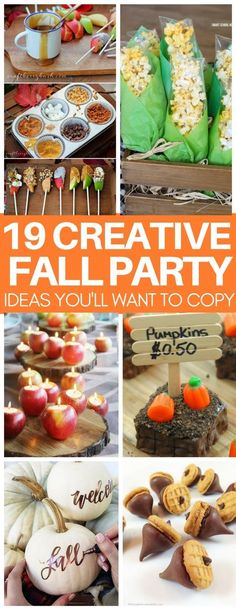 I am in LOVE with the caramel apple bar and chocolate acorn snack! These Fall party ideas are so creative plus they are quick and easy to make so I actually feel like I could pull them off! #fall #falldecor