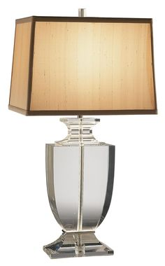 Artemis Clear Lead Crystal Table Lamp with Cafe Shade -