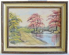 Art Paintings for sale Pink Painting, Spring Landscape, Pink Trees, Antique Paint, Blush Pink, Vintage Antiques, Vintage World Maps, Ebay, Nature