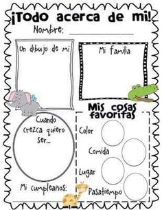 All About Me Poster Freebie.have them do at the beginning and end of each school year! I remember my kids doing these same posters when they were in elementary. Bilingual Classroom, Bilingual Education, Spanish Classroom, Classroom Freebies, Beginning Of The School Year, First Day Of School, Back To School, High School, Elementary Spanish