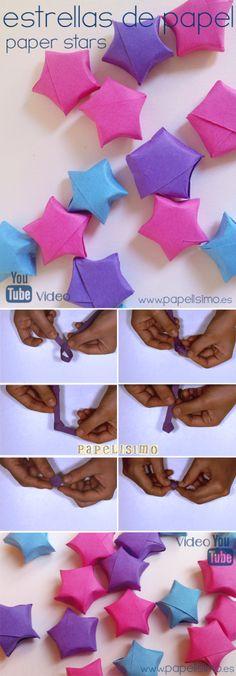 Estrellas de papel 3D | http://papelisimo.es/estrellas-de-papel-3d/