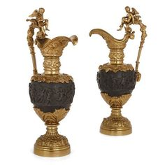 Pair of gilt and patinated bronze ewer-form vases | French | Late 19th Century. More details online at mayfairgallery.com