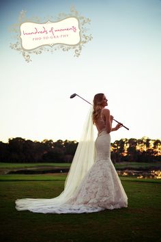 Brides in designer gowns from Solutions Bridal at Mission Inn Resort on the golf course. Photographed by http://www.hundredsofmoments.com