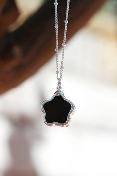 Black Onyx Flower Necklace by PanachebyAmanda on Etsy, $35.00