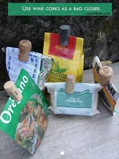 Corks as bag closers