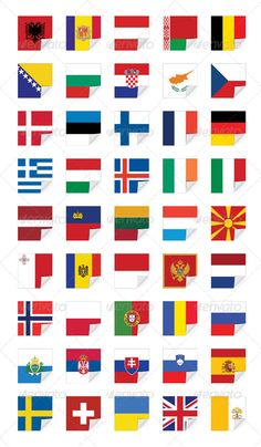 Flags of European States, on white