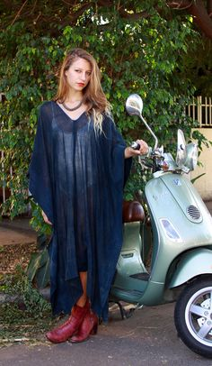 Tavin Boutique - Indigo Dyed Loose Cotton Dress