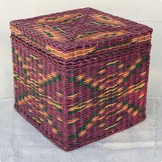Поделка изделие Плетение Короба с квадратным дном Плетение орнаментов Трубочки бумажные фото 2