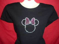 Minnie Mouse Pink Bow Disney Crystal Rhinestone BLING Womens Shirt PLUS SIZES