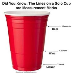 Easy Summer Backyard Party Tips Did you know that the lines on a solo cup are also a measurement?Did you know that the lines on a solo cup are also a measurement? Info Board, Good To Know, Did You Know, Cheers, Just In Case, Just For You, Red Solo Cup, Def Not, Party Hacks