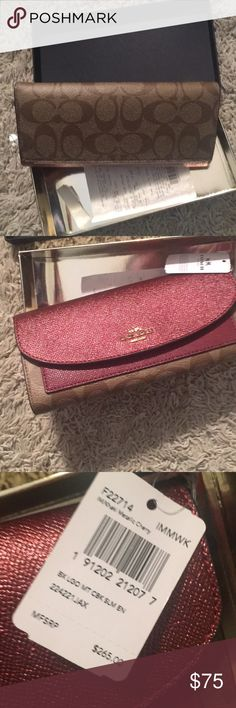 NWT Coach wallet $265 Wallet is attached to the box so I can't take a great pic but brand new signature Coach print with maroon Coach Bags Wallets