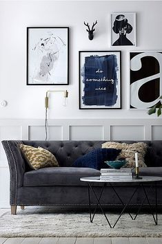 blue velvet curtains to the top design trick Blue Velvet Curtains, Love Seat, Gallery Wall, Couch, Poster, Furniture, Home Decor, Image, Houses