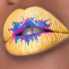 We love lemon  lips #makeupfans! #paintyourlips with us and show us your best #lemonlips! #lipart by @marioncameleon using flash color palette for the yellow, #artistacrylip 500 and #starlit powder in ultra marine 19 mixed with transparent #artistplexigloss. #iamanartist #makeupforever