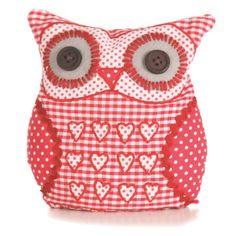 Free Stuffed Fabric Owls Patterns | ... Door Stops > Sass & Belle Applique Owl Door Stop - Red Gingham Hearts