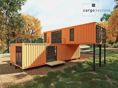Shipping containers 753297475147096622 - Casa container laranja Source by abadiemanuelito Container Office, Cargo Container Homes, Shipping Container Home Designs, Building A Container Home, Container Buildings, Storage Container Homes, Container Architecture, Shipping Container Cabin, Shipping Containers