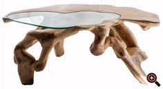 Designer Couchtisch – Trend Möbel – Wohnzimmertisch aus Holz, Glas & Metall