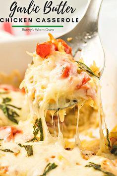 Italian Chicken Pasta, Chicken Pasta Recipes, Chicken Tomato Casserole, Recipe For Chicken Casserole, Chicken Meals, Garlic Butter Chicken, Creamy Chicken, Def Not, Casserole Dishes