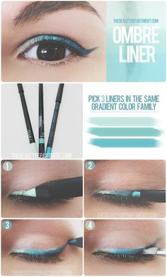 Ombre eyeliner This eye make up is amazing - 3 different shades/coloured eyeliners, great new funky idea. Kajal Eyeliner, Gold Eyeliner, Eyeliner Makeup, Korean Eyeliner, Eyeliner Hacks, Makeup Contouring, Eyeliner Pencil, Turquoise Eyeliner, Coloured Eyeliner