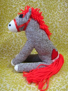 Handmade Rockford Red Heel Sock Monkey Stuffed Animal Pony Horse Customizable