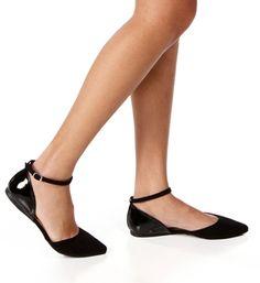 Pointed Toe Ankle Strap Hook Loop Velcro Suede Black High Heel ...