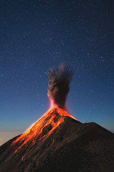 """The Corazón del Fuego volcano erupts in Guatemala, Photo by Andrew Shepard, National Geographic. Corazón del Fuego means """"heart of fire,"""" which is the best volcano name ever. All Nature, Amazing Nature, Wallpaper Corazones, Volcan Eruption, Trinidad E Tobago, Landscape Photography, Nature Photography, Smoke Photography, Stunning Photography"""