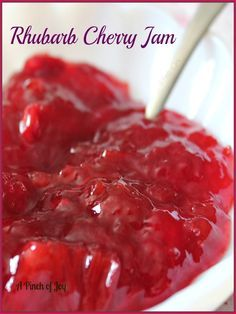 Rhubarb Cherry of cut up rhubarb and 1 can cherry pie filling, sugar. Rhubarb Cherry of cut up rhubarb and 1 can cherry pie filling, sugar and pectin. Ketchup, Chutney, Jelly Recipes, Dessert Recipes, Dessert Bread, Rhubarb Desserts, Canned Cherries, Canning Recipes, Rhubarb Jam Recipes Canning