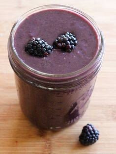 Blackberry, banana, almond milk, chocolate protein powder smoothie