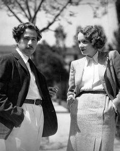 Marlene Dietrich and her director Josef von Sternberg, 1933