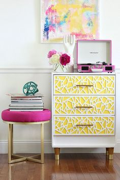 Modern and Bright Ikea Rast Hack for Girls. Here's a little something for the girls' room, the re vamped Ikea Rast chest. This high style DIY project screams easy. Learn how to make it