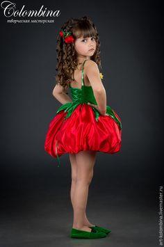 Купить Костюм помидора - ярко-красный, костюм помидора, помидор, карнавальный костюм, атлас, велюр